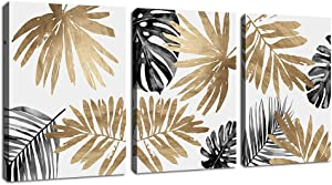 "Leaf Wall Art Bedroom Wall Decor Modern Canvas Pictures Leaves Canvas Wall Art Prints Contemporary Abstract Plants Leaf Canvas Artwork for Bathroom Living Room Office Kitchen Wall Decor 12"" x 16"" x 3 Pieces"