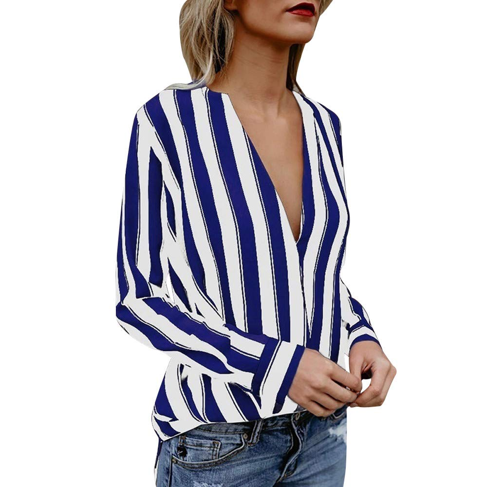 Ulanda Autumn Women Sexy Long Sleeve Striped Shirts Deep V Neck Irregular Hem T-Shirt Blouse Tops