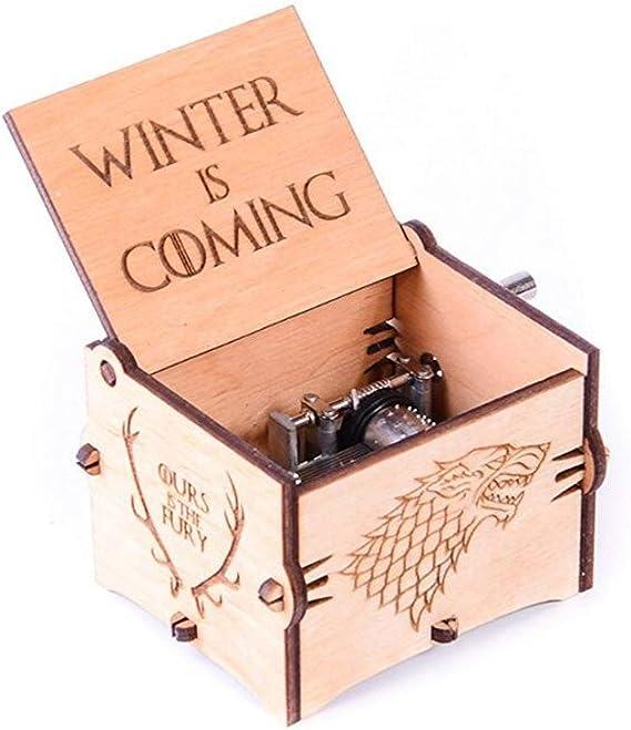 Biscount Juego de Tronos, caja de música con grabado de madera, juguete musical para el invierno con grabado de mano, gran regalo para los fans del golf, marido, amigo, padre, padre, hombre