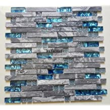 11PCS Gray Marble Glass Tiles Wall Interlocking Blue Kitchen Backsplash Bathroom Decoration Shower Stone Background Tile