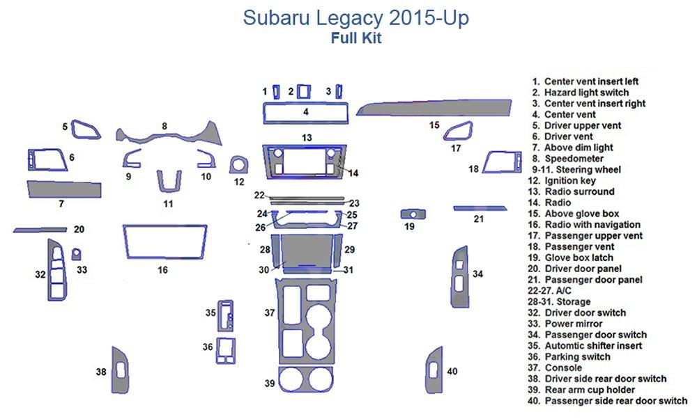 Subaru Legacy Full Dash Trim Kit - Real Carbon Fiber