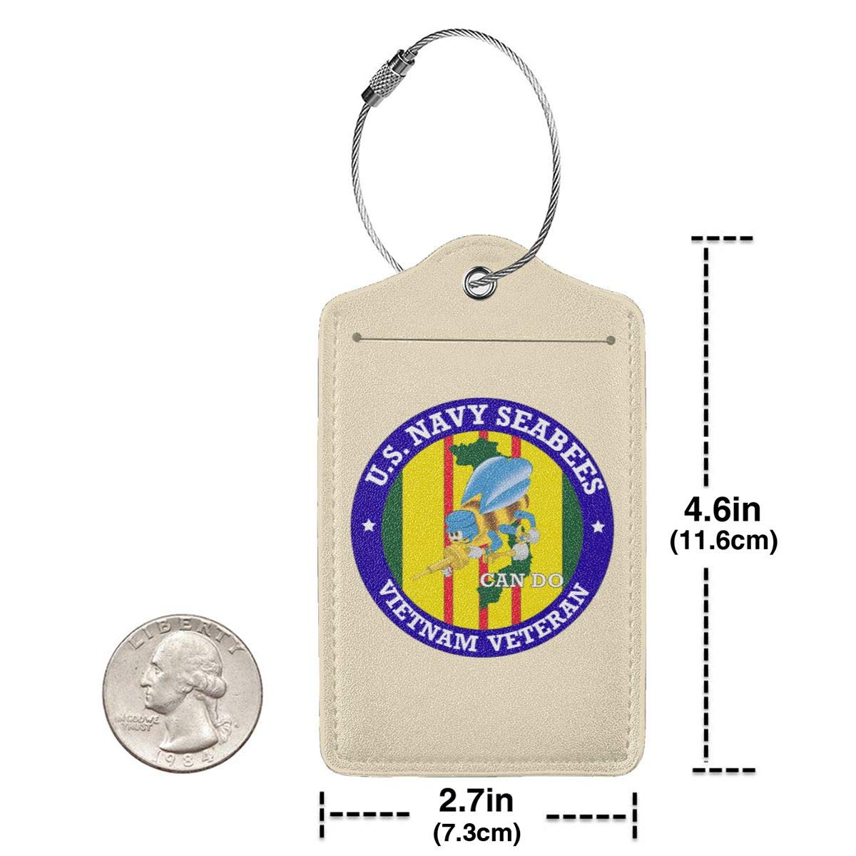 Navy Seabees Vietnam Veteran Leather Luggage Tag Travel ID Label For Baggage Suitcase U.S