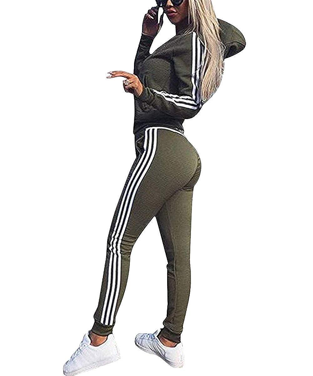 Damen Trainingsanzug Streifen Jogginganzug Rei/ßverschluss Kapuzenpullover und Lange Hose Fitness Casual Sportanzug-2 Piece Set