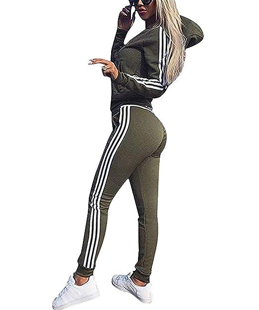 super popolare 6d712 f3888 Cindeyar Tuta da Donna Set di 2 Pezzi Gymsuit Tops+Pants ...