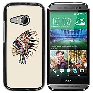 GOODTHINGS ( NO PARA HTC ONE M8 ) Funda Imagen Diseño Carcasa Tapa Trasera Negro Cover Skin Case para HTC ONE MINI 2 / M8 MINI - Plumas tocados indios jefe nativo