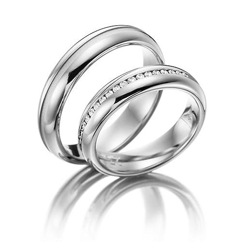 Amazon.com: Oro blanco de 14 K parejas anillos de boda 0,22 ...