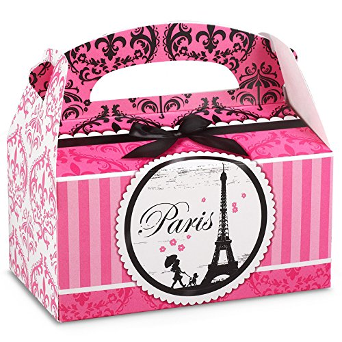 BirthdayExpress Paris Eiffel Tower Damask Party Supplies - Empty Favor Boxes (4) -