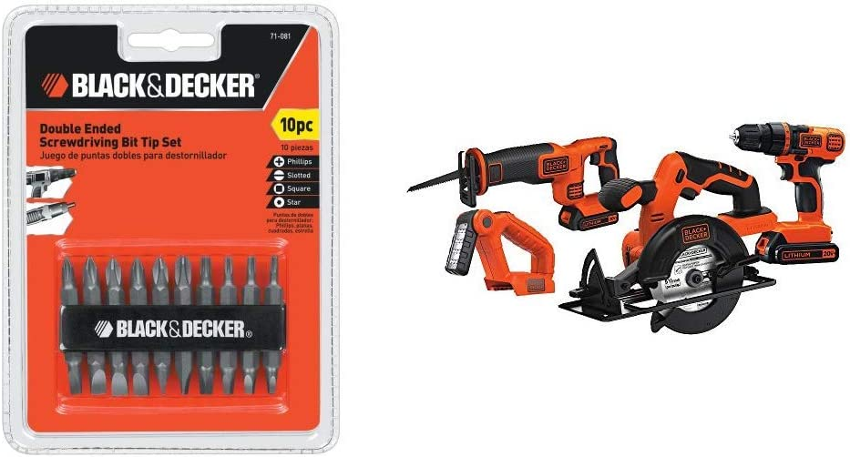 Black Decker 71-081 Double Ended Screwdriving Bit Set, 10-Piece with Black Decker BD4KITCDCRL 20V MAX Drill Driver Circular and Reciprocating Saw Worklight Combo Kit