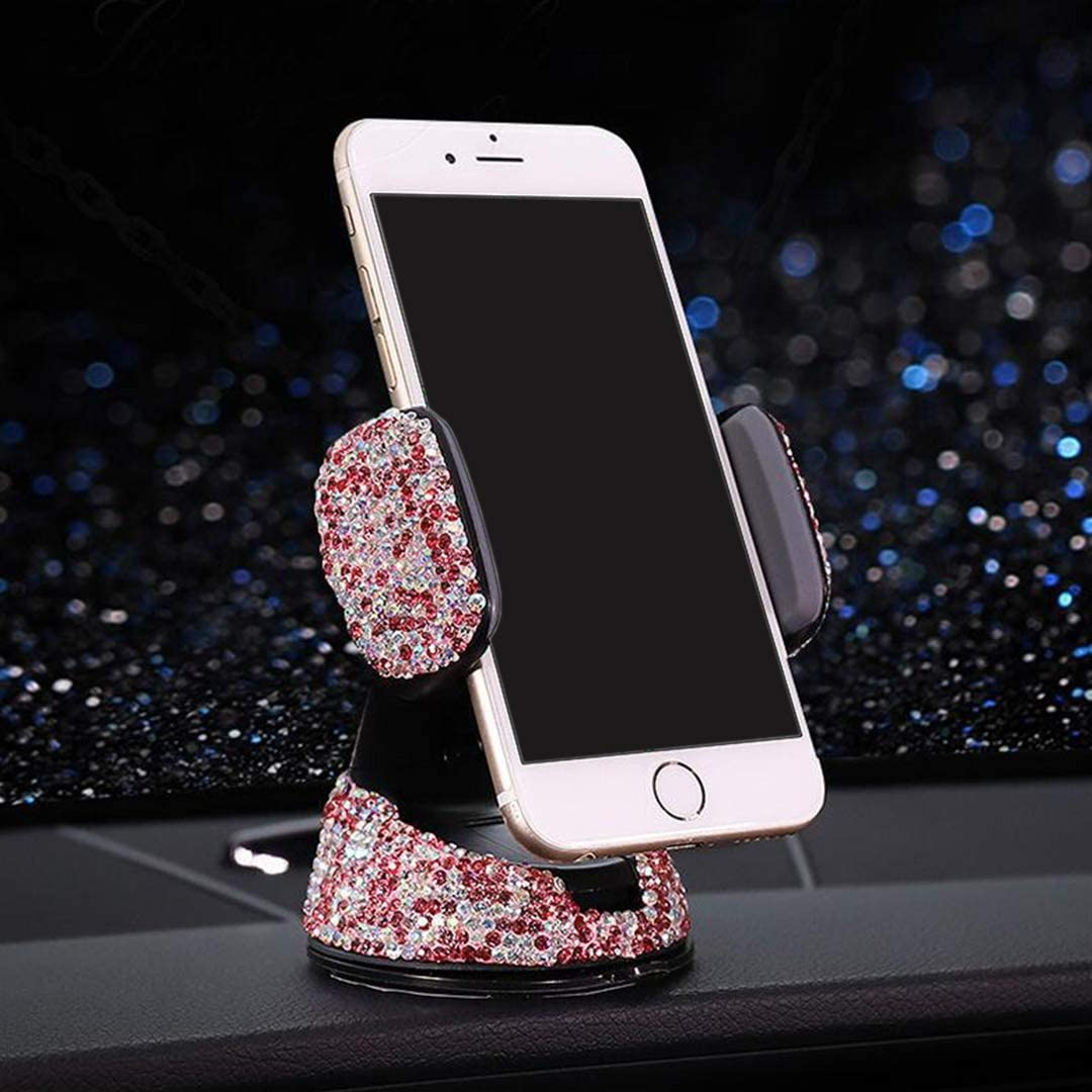 Jascaela Bling Rhinestone Universal Car Phone Mount Strong Sticky Dashboard Windshield Air Vent Adjustable Crystal Glitter Cell Phone Stand Holder Cute Accessories for Women Girls Ladies Pink