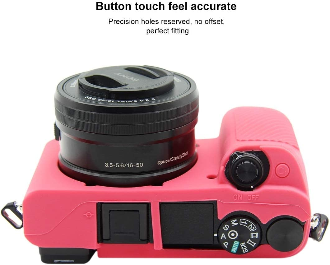 Color : Rose Red Soft Silicone Protective Case for Sony ILCE-6300 Durable