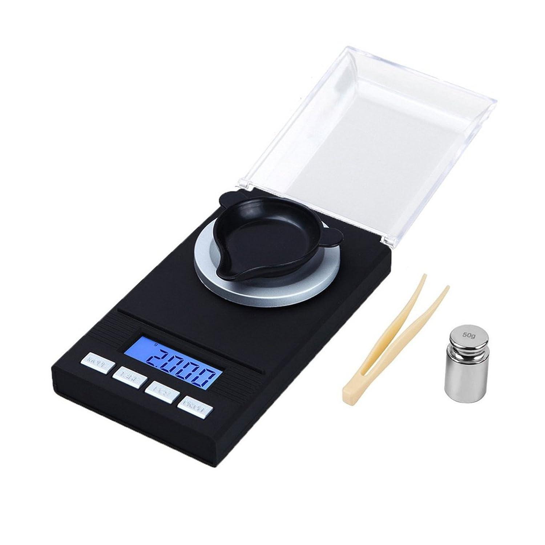 Mini LCD Digital Pocket Waage Milligramm Skala 50 X 0,001 g Nachladen Schmuck Waage Digital Gewicht mit Kalibrierung Gewichte & Pinzette & Wiegepfannen