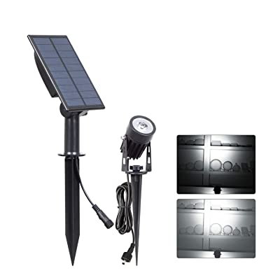 T-SUN LED Landscape Solar Spotlights, Waterproof Outdoor Solar Lights Auto ON/Off Solar Wall Lights for Garden, Driveway, Pathway, Pool Area(White): Home & Kitchen