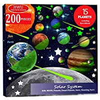 Hello World 200pcs Glow in The Dark Stars and Planets, Bright Solar System Wall Stickers, All Glowing 15 Planets Dwarf Pluto Moon Sun 173 Stars, 12 Shooting Stars, Ceiling Wall Decals Kids Bedroom