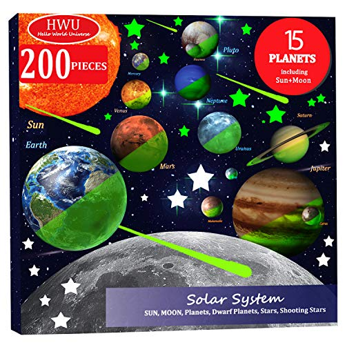Hello World 200pcs Glow in The Dark Stars and Planets, Bright Solar System Wall Stickers, All Glowing 15 Planets Dwarf Pluto Moon Sun 173 Stars, 12 Shooting Stars, Ceiling Wall Decals Kids Bedroom (Best Ceilings In The World)