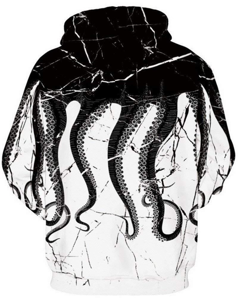 Vogseek Teens Uinsex 3D Octopust Stampato Divertente Felpa con Cappuccio a Maniche Lunghe con Tasche in Bianco e Nero