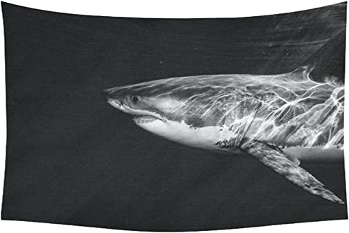 INTERESTPRINT Animal Wall Art Home Decor, Great White Shark While Coming to You Tapestry Wall Hanging Art Sets 90 X 60 Inches