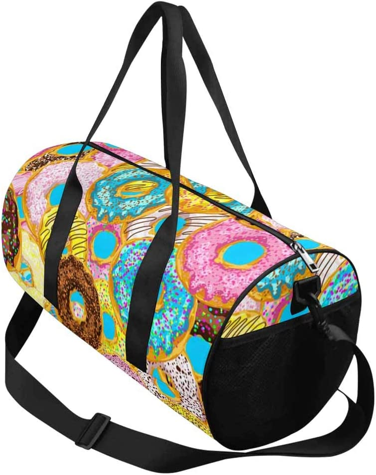 INTERESTPRINT Colorful Donuts Gym Duffle Bag Waterproof Travel Weekender Bag