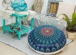 Bohemian Decor Indian Peacock Blue Pouf / Floor Cushion cover, Organic Cotton, Block Printed 30\