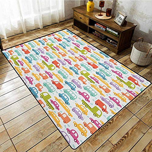 Collection Area Rug,Cars,Lovely Drive on a Sunny Fun Summer Day Theme with Colorful Buses Trucks Exhaust Fumes,Extra Large Rug Multicolor