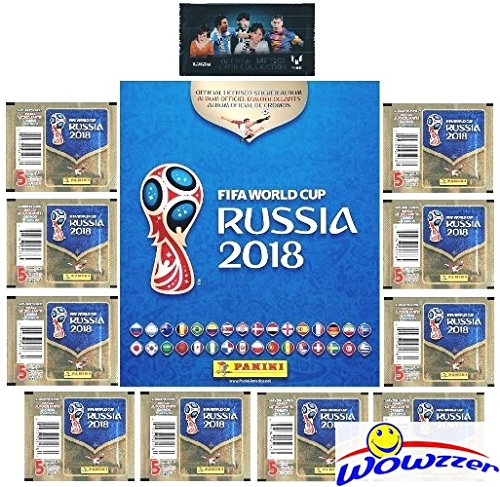 2018 Panini FIFA World Cup Russia AMAZING SPECIAL COLLECTORS PACKAGE with 80 Page Collectors Album,60 Brand New Stickers & Bonus LIONEL MESSI Pack! Collect Stickers of the Worlds Biggest Soccer Stars!