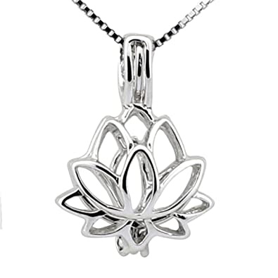 Ny Girls 925 Sterling Silver Lotus Flower Cage Pendant Pack Of 3pcs