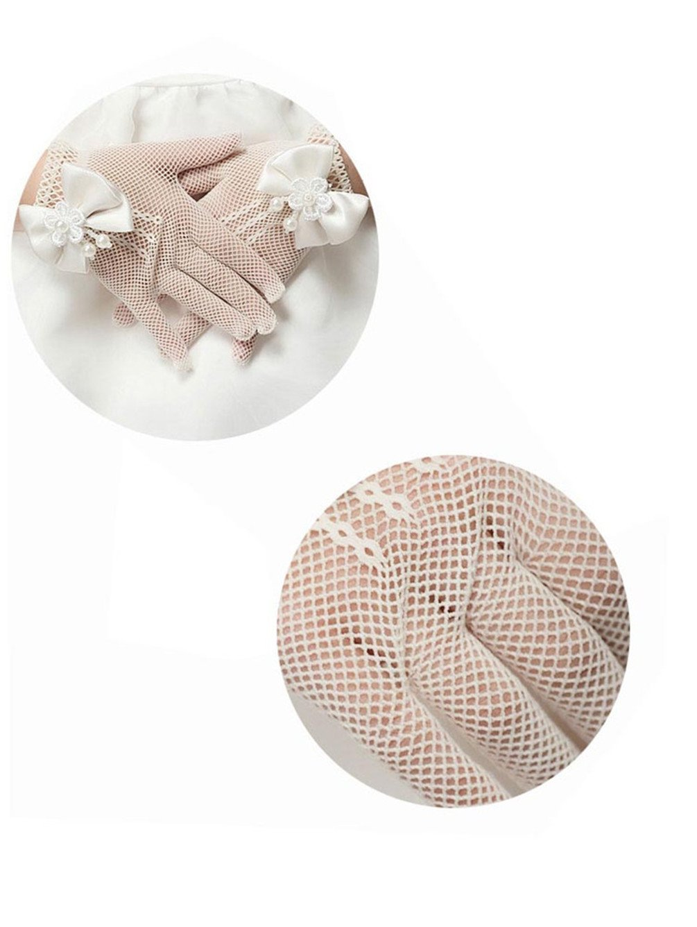 Niyage Pageant Girls Wrist Length Bowknot Net Yarn Gloves (Age 5-13) Ivory