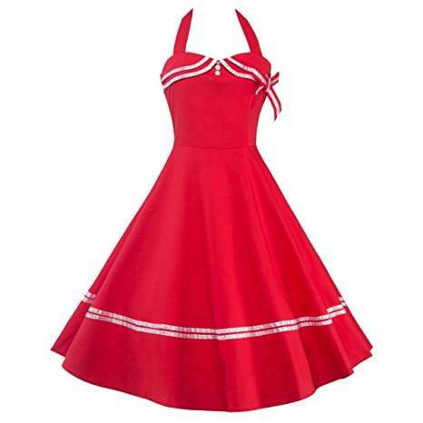 Pin Up Girl Costumes | Pin Up Costumes Samtree Womens Vintage Sailor Navy Style Party Cocktail Halter Swing Dress $24.99 AT vintagedancer.com