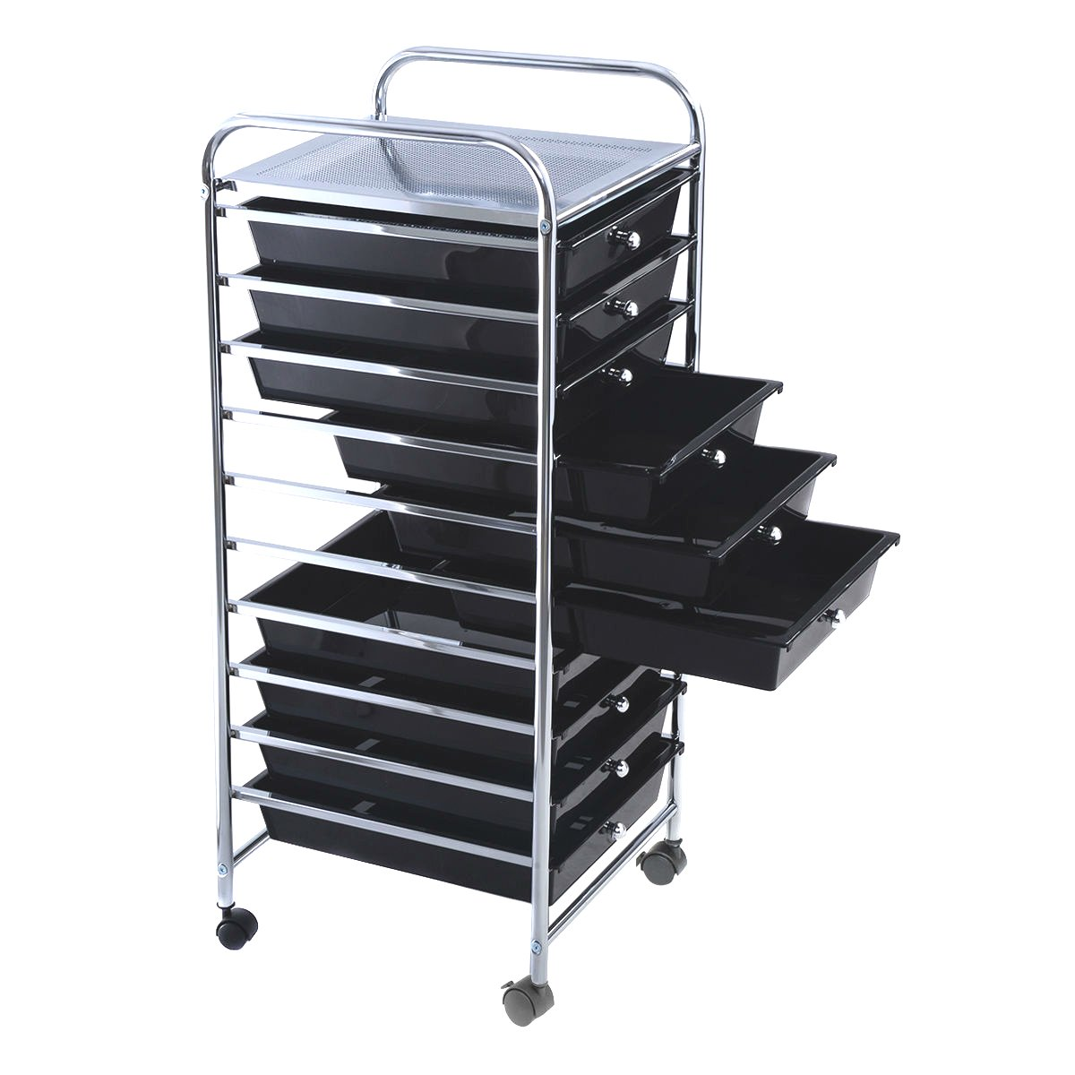 Steel Frame 10 Drawer Organizer Rolling Storage Cart Scrapbook Paper Office Home Kitchen School Garage Parts Storage