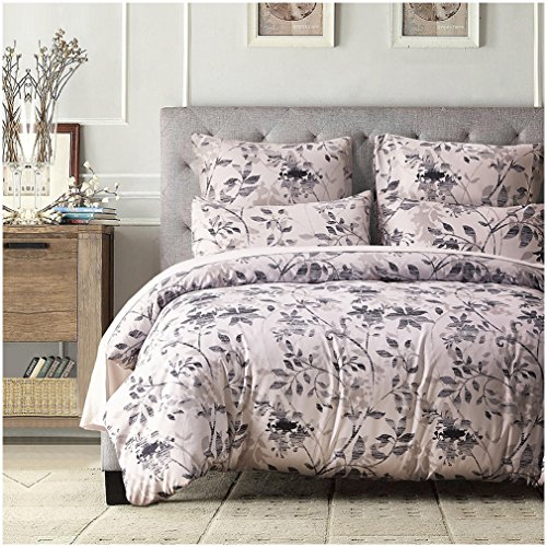 3 Piece Sets of Duvet Cover Bedding,Ultra-Soft Microfiber ,Simple Elegant Floral Pattern Design (Queen) (Where To Buy Duvet Cover)