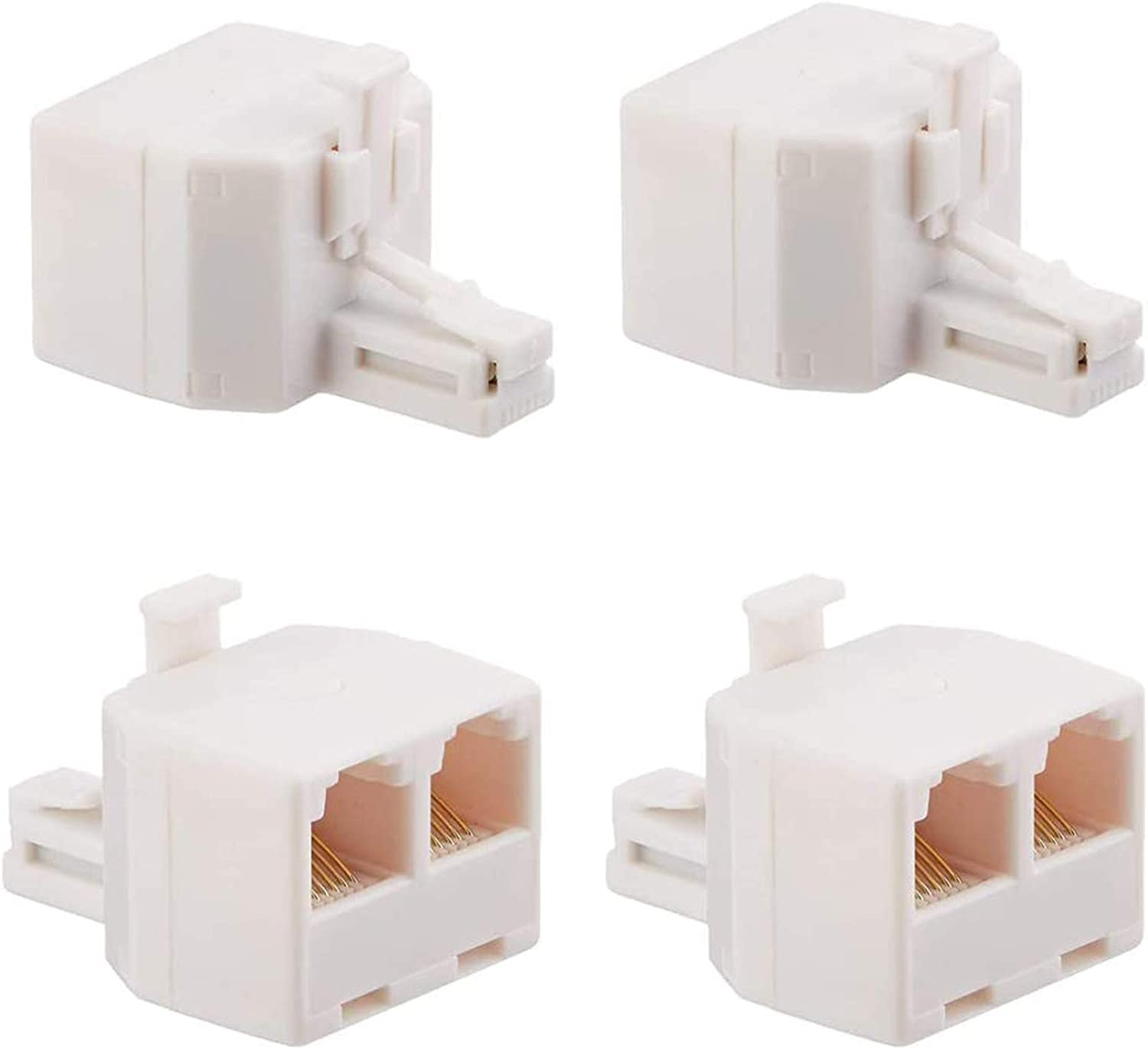 Uvital RJ11 Duplex Wall Jack Adapter Dual Phone Line Splitter Wall Jack Plug 1 to 2 Modular Converter Adapter for Office Home ADSL DSL Fax Model Cordless Phone System, White(4 Packs)