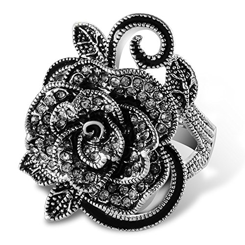 Yfnfxl Fashion Black Marcasite Ring Vintage Jewelry Silver Rings for Women