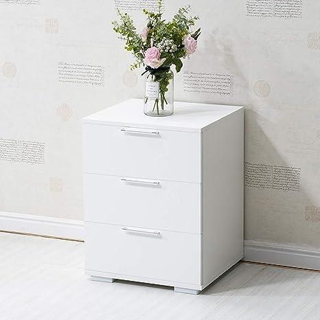 CLIPOP Nachtschrank Kommode Nachttisch Schublade Schlafzimmer Weiß  Hochglanz 3 Schubladen