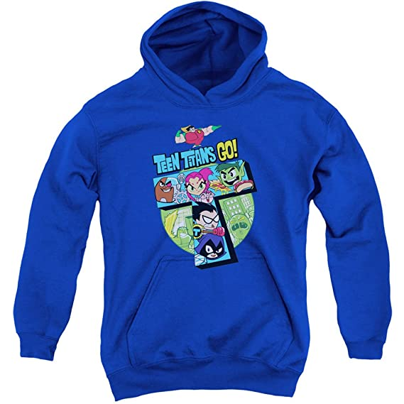 6c40d7088b9f Teen Titans Go! Cartoon Series T-Tower Big Boys Youth Pull-Over Hoodie   Amazon.co.uk  Clothing
