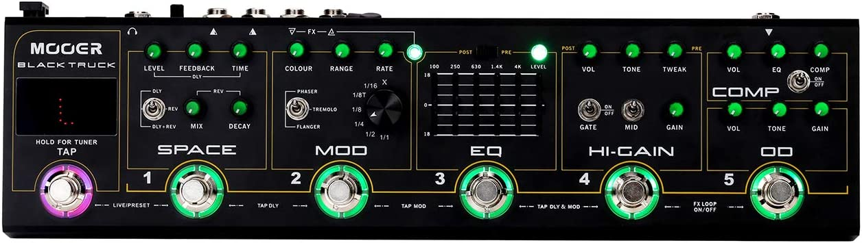 MOOER 6-in-1 ギターエフェクトペダルコンプレッサー+オーバードライブ+ディストーション+ EQ +モジュレーション+ディレイ/リバーブ 内蔵チューナータップテンポ キャリーケース付き BLACK TRUCK