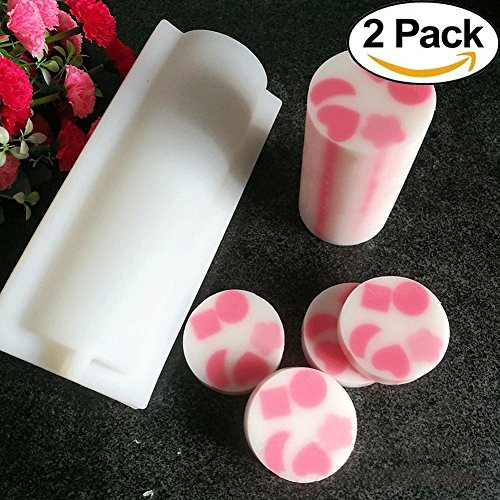 Biowow 2 Pack Round Tube Soap Mold 1000ML Column Silicone Soap Candle Molds Heart Shape Embed Soap Making Supplies Tools
