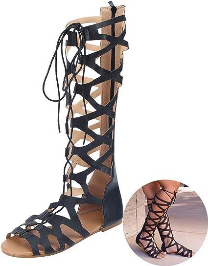 roman lace up sandals