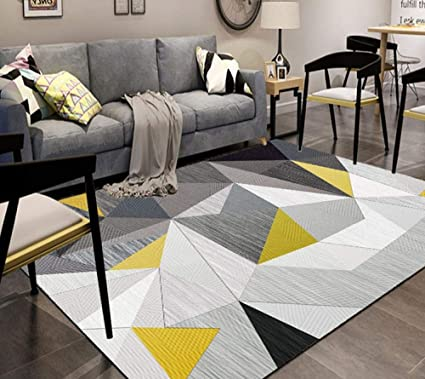 dusg Tapis Design Moderne Triangle Noir Gris Jaune 160 ...