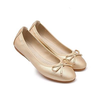 972e579b656a Meeshine Womens Foldable Soft Ballet Flats Comfort Slip On Dance Shoe Gold  5.5 US