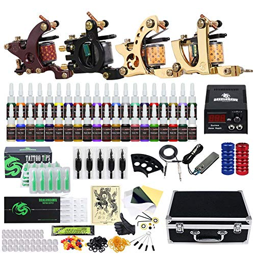 Complete Tattoo Kit 4 Machine Gun Power Supply 40 Color Ink Set Needles Kits Case Tattoo Supplies - Machine Complete Power Needle