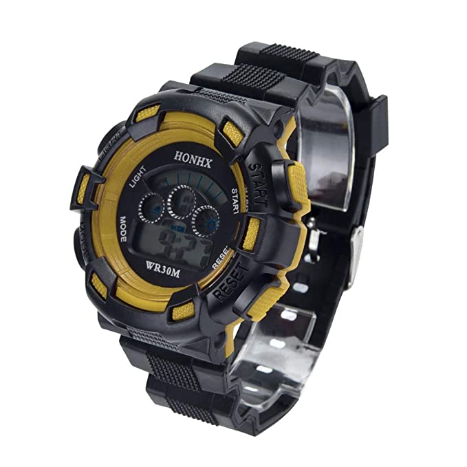 Reloj deportivo, impermeable, precisa hora, unisex, anillo ajustable brazalete de acero inoxidable