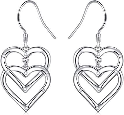 925 Sterling Silver Long Love Heart Open Drop Earrings Gift Jewelry to Women and Girls Mothers Day Heart Dangle Threader Earrings