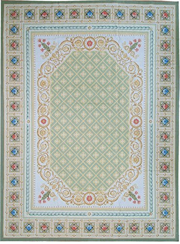 (Pasargad Aubusson Hand-Woven New Zealand Wool Area Rug- 9' 1