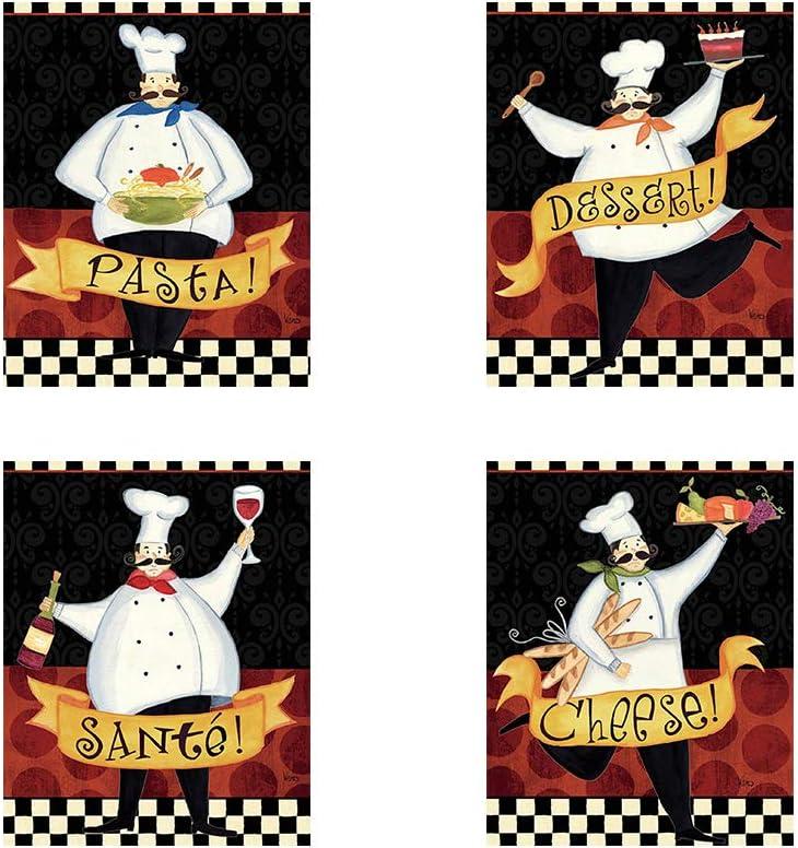 Bon Appetit by Veronique Charron, 4 Piece Art Print Set, 8 X 10 Inches Each, Kitchen Art Set, Fat Chef Pictures