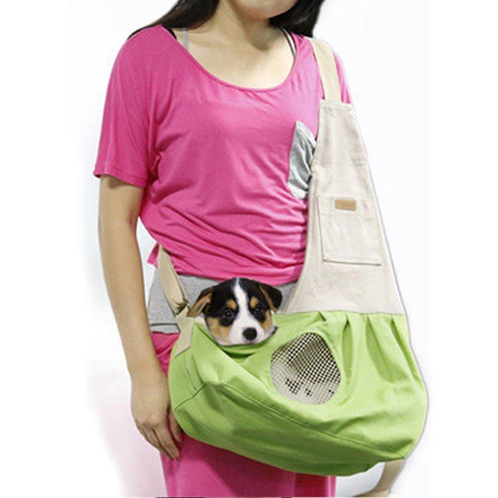 Pet Sling Carrier, PYRUS Dog Sling Bag Shoulder Carry Bag with Extra Pocket for Cat Dog Small Animals ( Green )