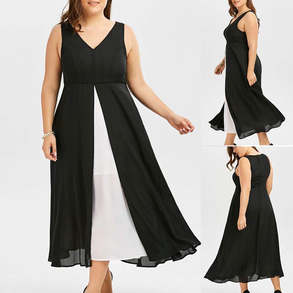 Gyouanime Plus Size Dress Womens V-Neck Sleeveless Black White Patchwork Long Maxi Dress Beachwear by Gyouanime Dress (Image #2)