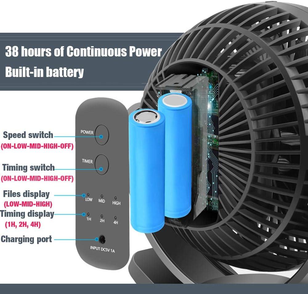 Welmon 360/° Portable 3 Speed USB Clip On Timing Desk Fan Pram Car 5000mAh Rechargeable Rechargeable USB Clip Fan Black