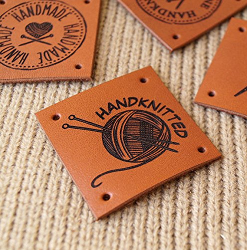 Sew on labels, leather labels, personalized knitting labels, leather tags, product labels, crochet tags, logo tags, set of 25 pc