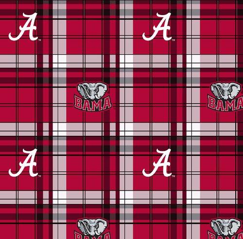 College University of Alabama Crimson Tide Plaid Fleece Fabric Print By the Yard