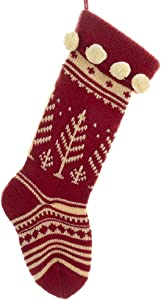 Red and White Knitted Christmas Stocking with Tree Design 17 Inch New
