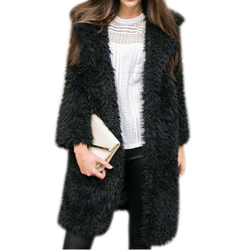 Gloria JR Womens Fuzzy Faux Lamb Fur Coat Long Jacket Notched Lapel Mid Long Coat (Large, Black)